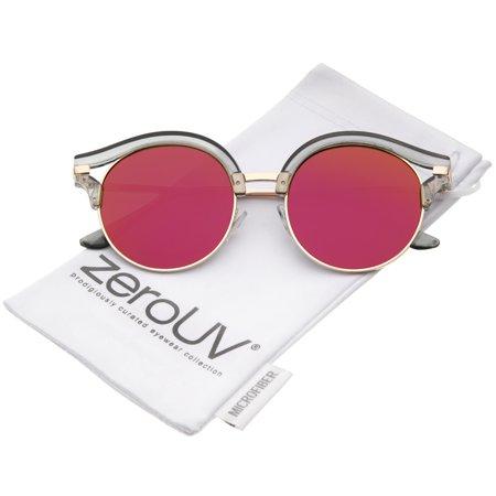 zeroUV - Round Transparent Half-Frame Cutout Mirror Flat Lens Cat Eye Sunglasses 51mm - (Cat Eye Frames For Round Faces)