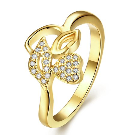 Aventura Jewellery Gold Plated Abstract Flower Petal Ring Size 8 - Flower Ring Jewelry