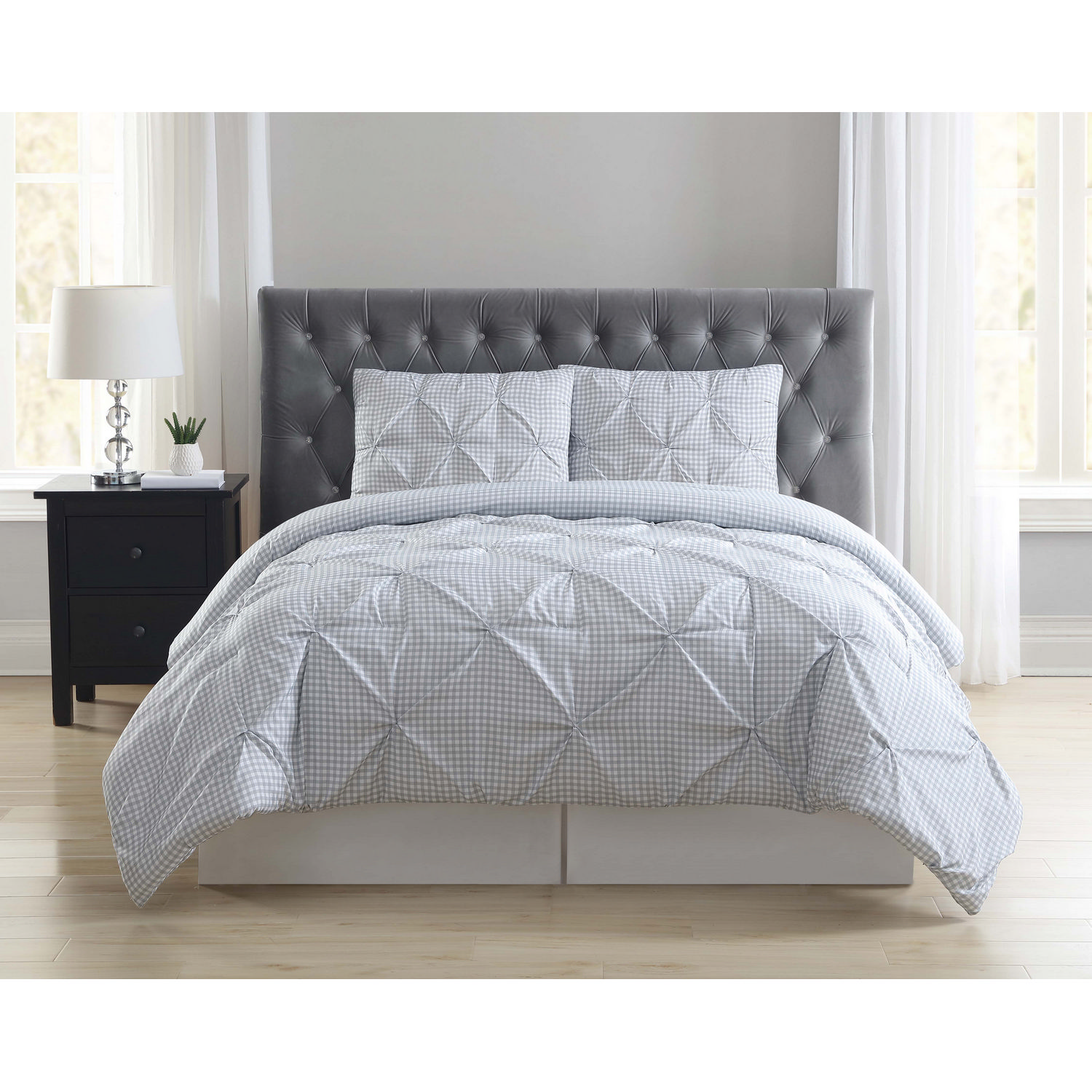 Truly Soft Everyday Gingham Pleat Grey Twin Extra Long Comforter Set
