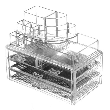 Clear Acrylic Jewelry Organizer And Makeup Organizer Cosmetic Organizer With Large 3 Drawer Jewelry Chest - Mtf Makeup