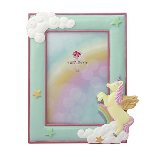 Gifts by Fashion Craft Magical Unicorn Hand Painted Pastel Frame for 4x6 Photo