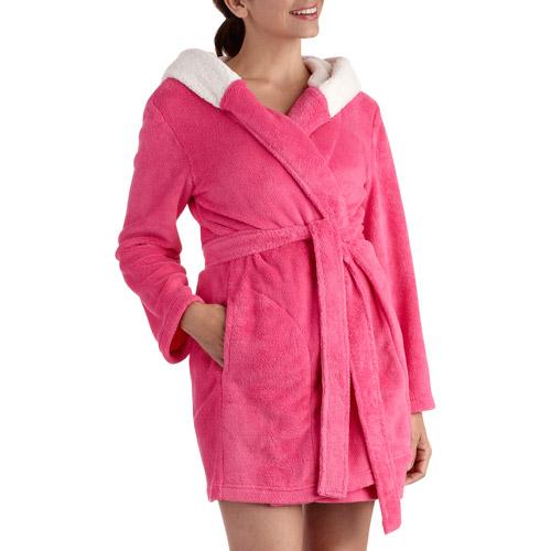 DF by Dearfoams Women's Sherpa Hooded Robe