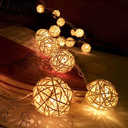 20 Led Rattan Balls Fairy String Decorative Lights Battery Operated Christmas Outdoor Patio Garland Wedding Decoration ()