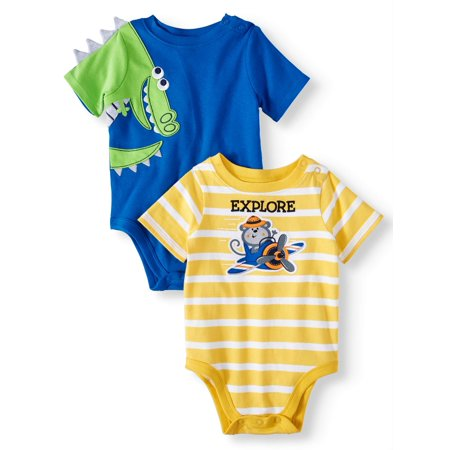 Baby Boys' 3D Critter and Striped Graphic Bodysuits, 2-Piece Multi-Pack](Boys Santa Onesie)