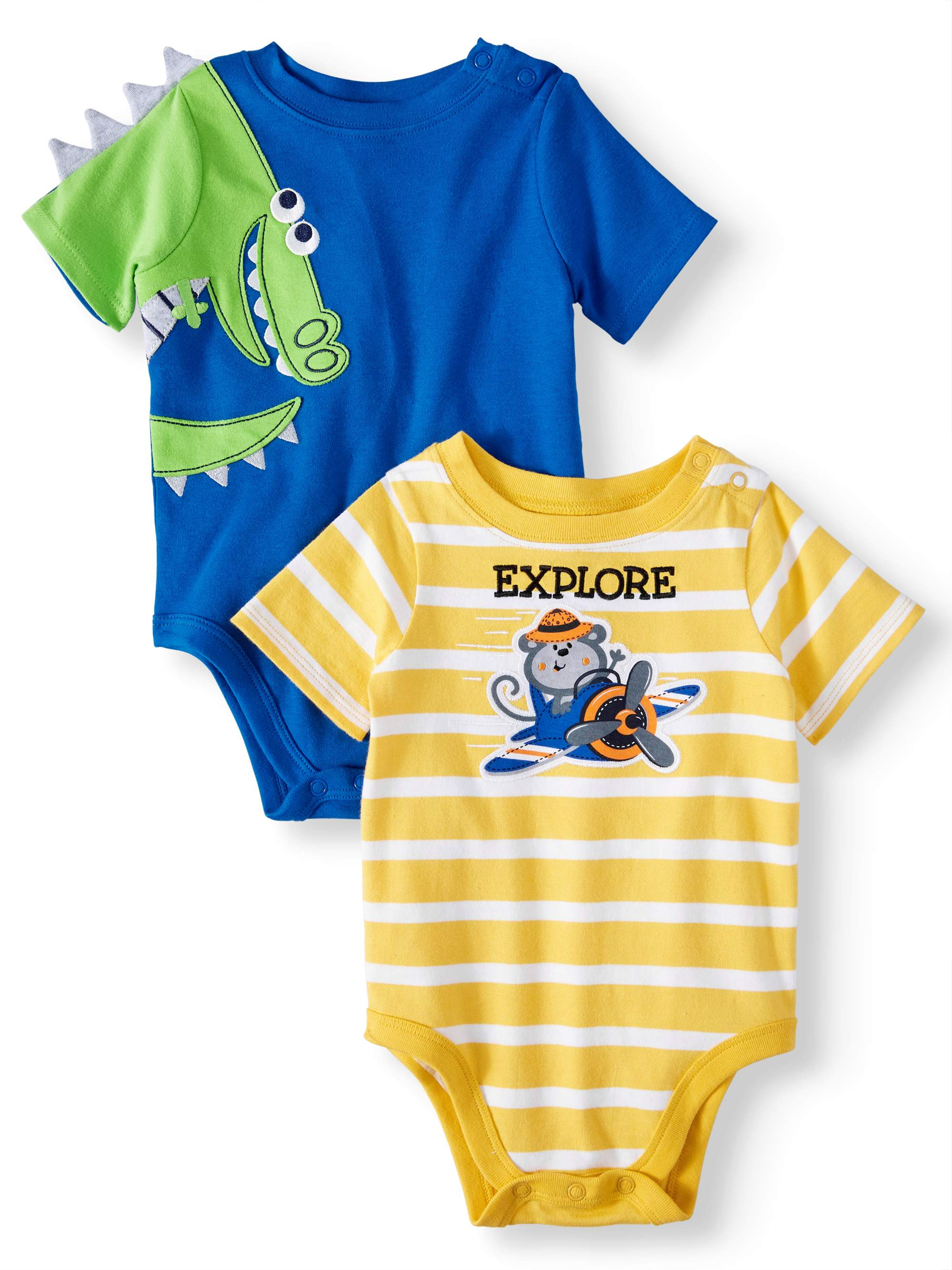 Baby Boys' 3D Critter and Striped Graphic Bodysuits, 2-Piece Multi-Pack
