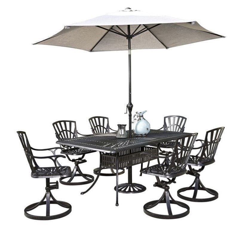 Bowery Hill 8 Piece Patio Dining Set with Umbrella in Charcoal