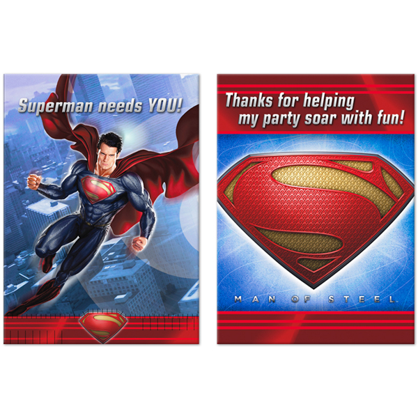 Superman Man of Steel Invitations and Thank You Notes w / Env. (8ct)