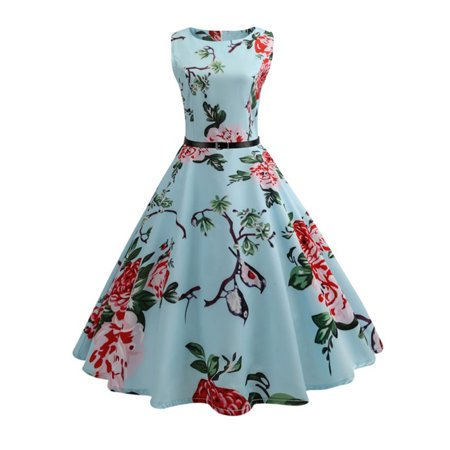 Women Vintage Rockabilly Swing Dress Party 60s 50s Cocktail Pin Up Dress