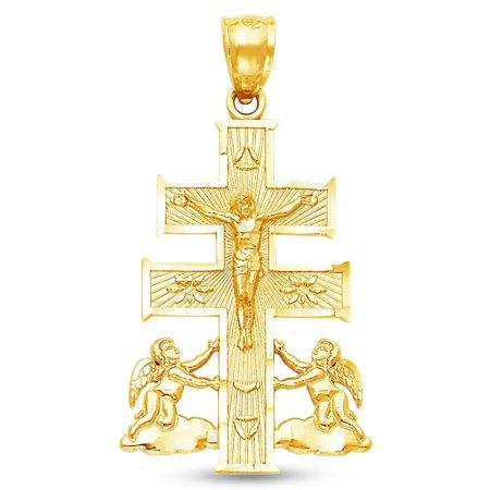 14K Yellow Gold Diamond-Cut Ornate Catholic Caravaca Crucifix Cross Charm Pendant with Cherub Angel (27x19 mm)