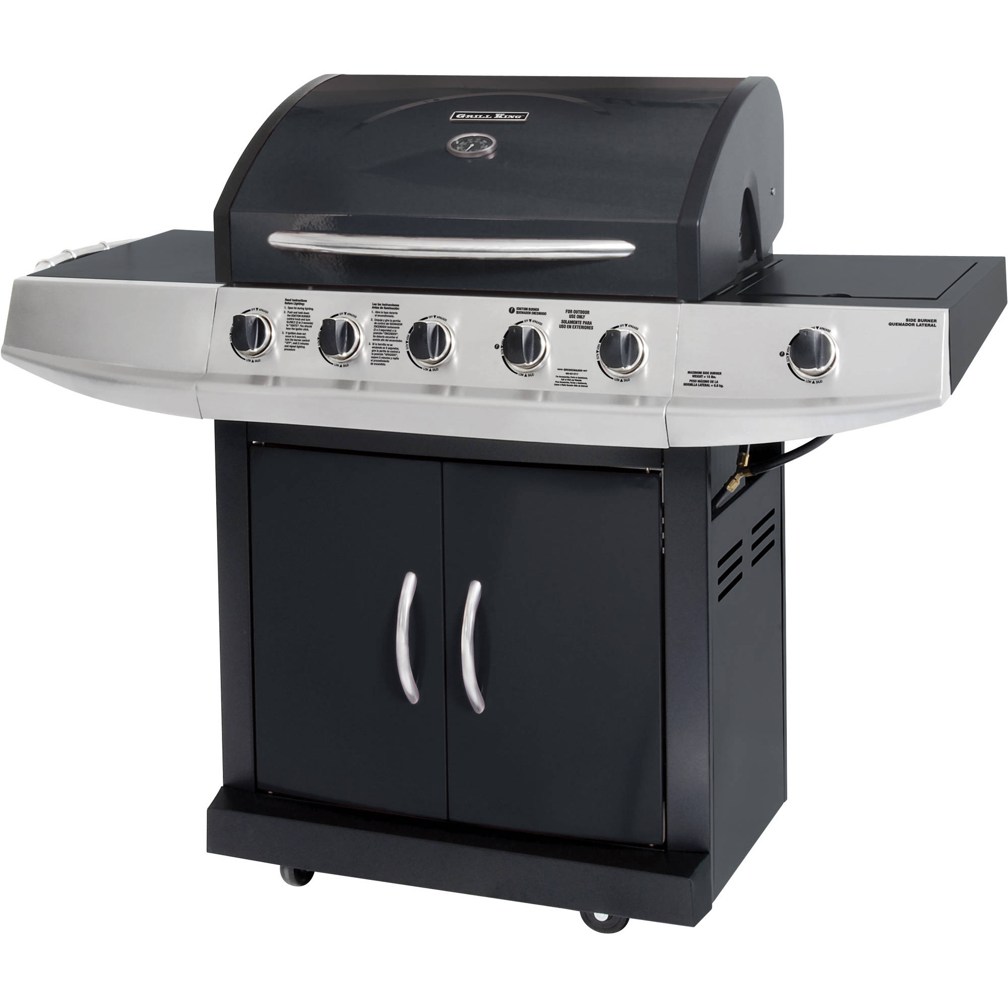 Grill King 5-Burner Gas Grill with Side Burner, Black