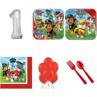 PAW PATROL PARTY SUPPLIES PARTY PACK WITH SILVER #1 BALLOON
