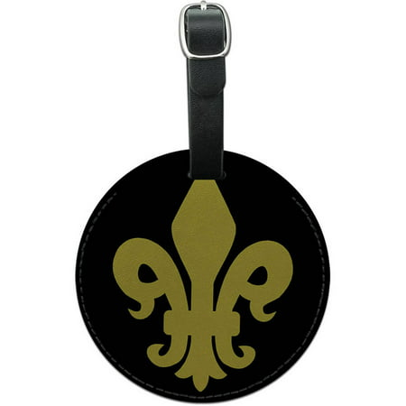 Fleur de Lis Gold on Black Round Leather Luggage ID Tag Suitcase Carry-On (Lisa Black Leather)