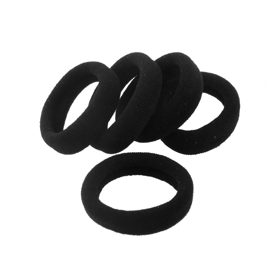 Unique Bargains 5 Pcs Stretchy Fabric Hair Ties Bands Ponytail Braid Holder  Elastics Black f4335e6655c