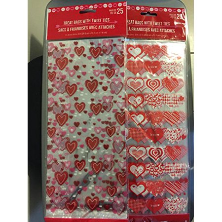 50 Valentine Heart Candy Treat Bags - Valentines Treats