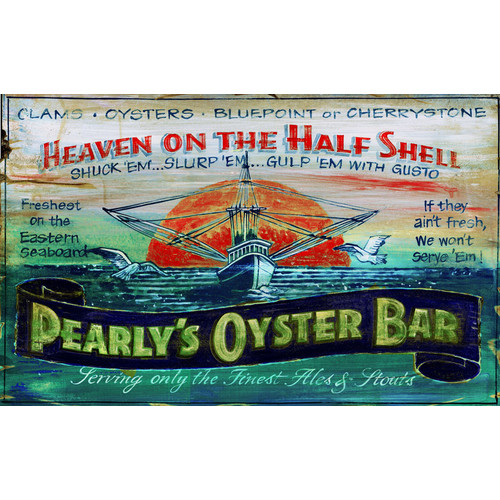 Red Horse Arts Pearly's Oyster Vintage Advertisement Plaque