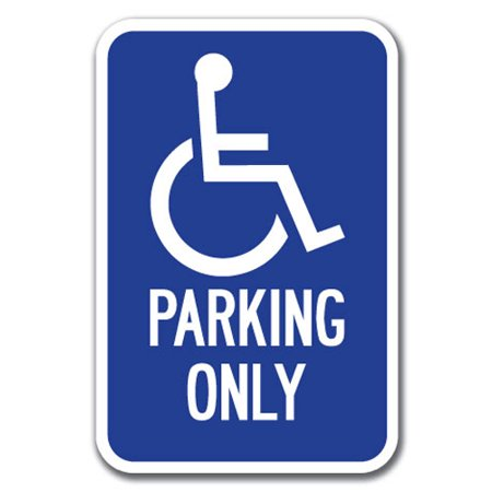 Fan Parking Sign - Parking Only with Handicapped Symbol Sign 12