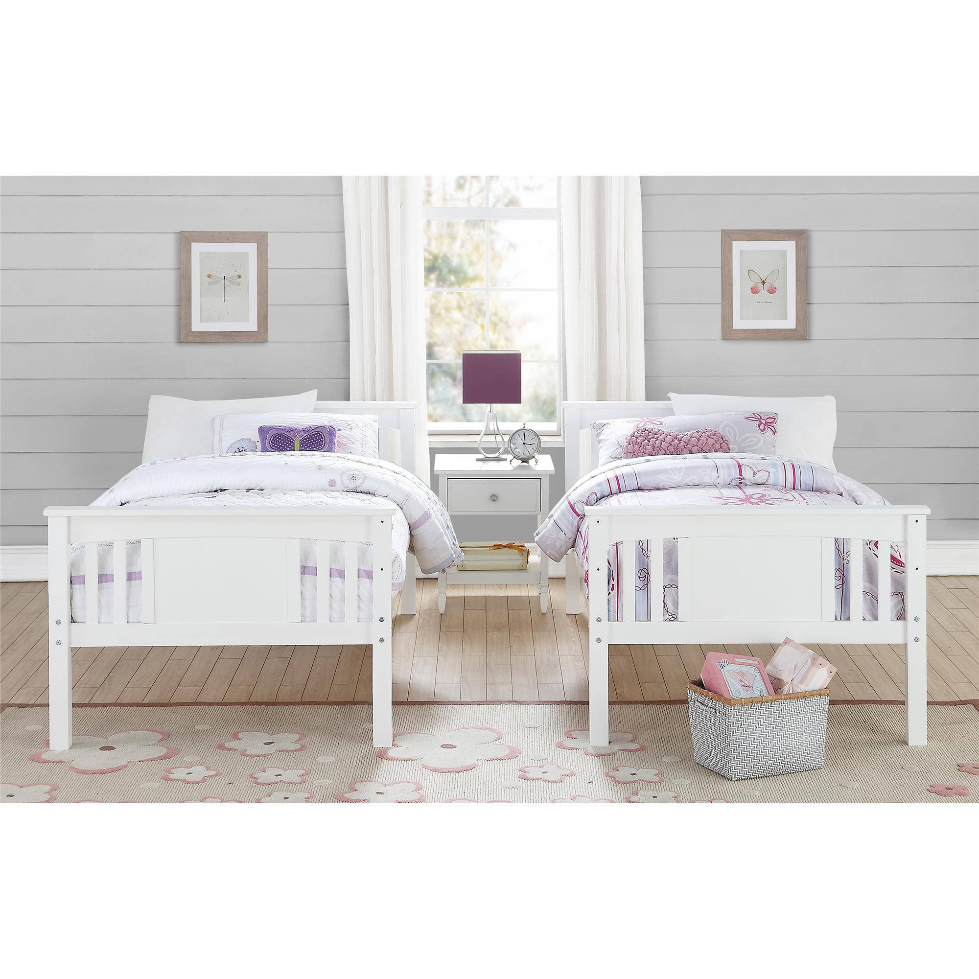 Better Homes and Gardens Flynn Twin Kids Room Bunk Bed Over White ...
