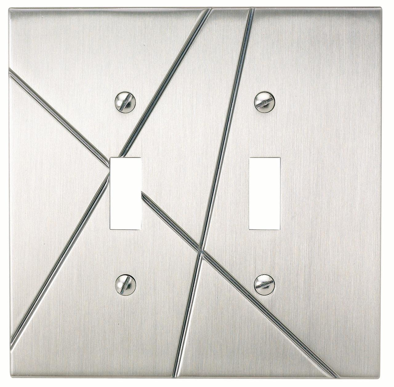 Modernist 2 Toggle Metal Wall Plate - Brushed Nickel