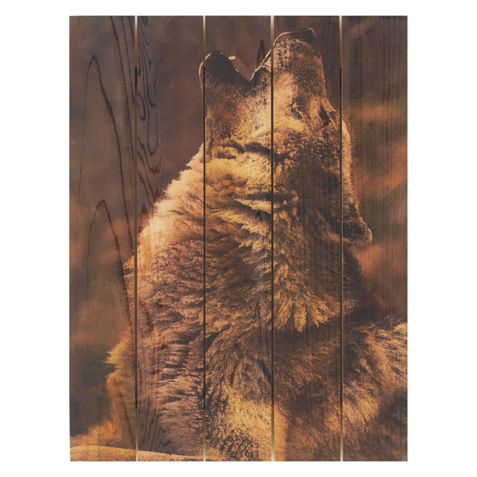 Gizaun Art Crying Wolf Inside/Outside Full Color Cedar Wall Art