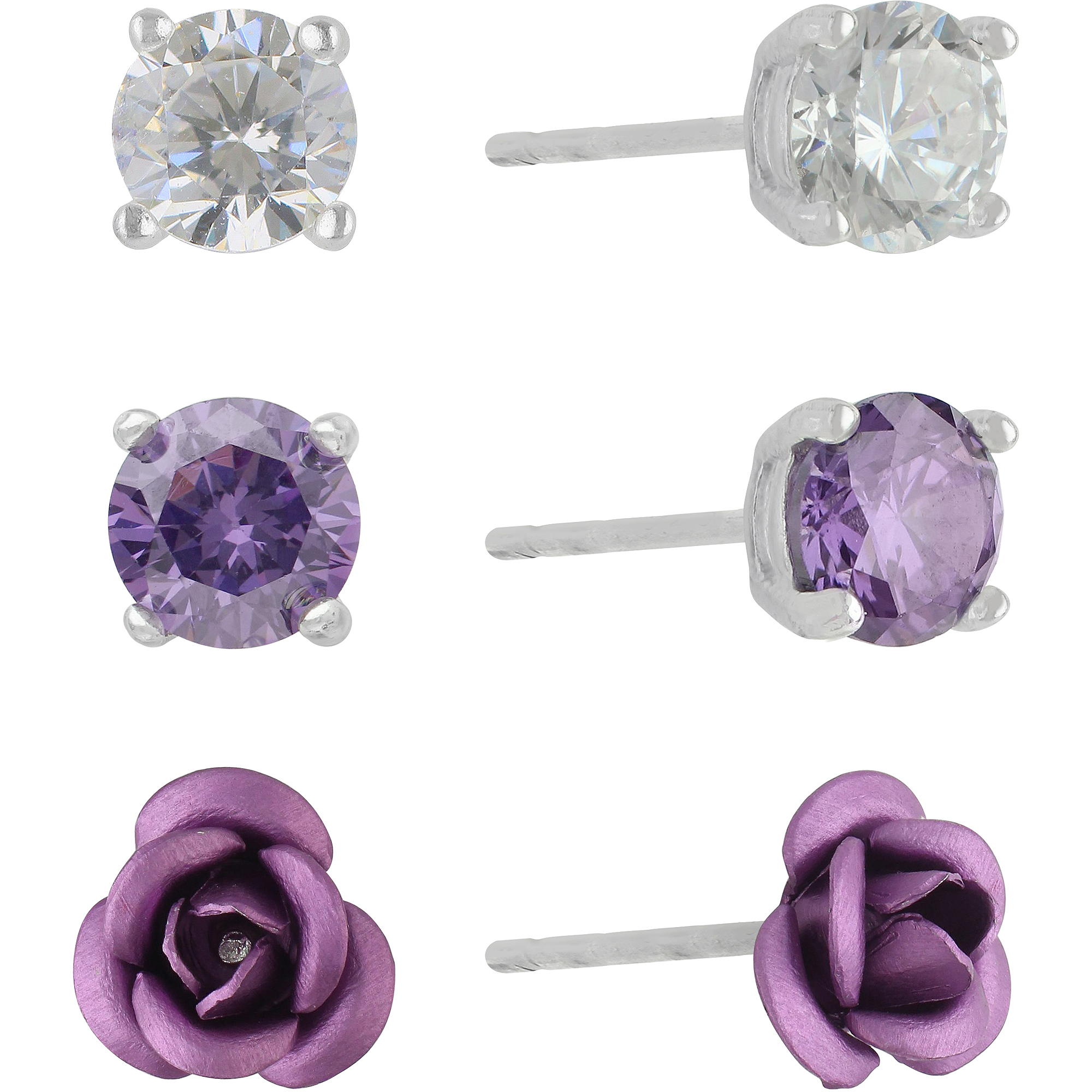 Sterling Silver, Purple CZ and Rose Stud Earrings, 3 Pair