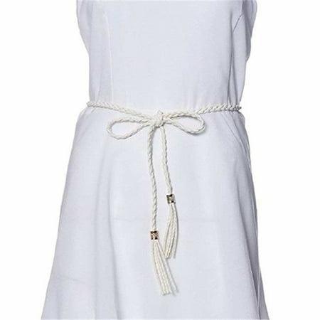 Women Bohemia Faux Leather Tassel Braided Belt Self-Tie Waist Rope Belt