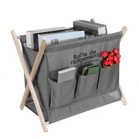 Folding Wood Magazine,Newspaper Rack Desktop Storage Rack  For Living Room, Dining Room, Bathroom, Office, Waiting Room(Grey,Black) - image 6 of 6