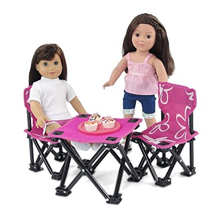 18 Inch Doll Accessories | Awesome Pink and White Flowered Armless Camping Sports Chairs and Table Set, includes Matching Carry / Storage Case | Fits American Girl Dolls - image 2 de 4