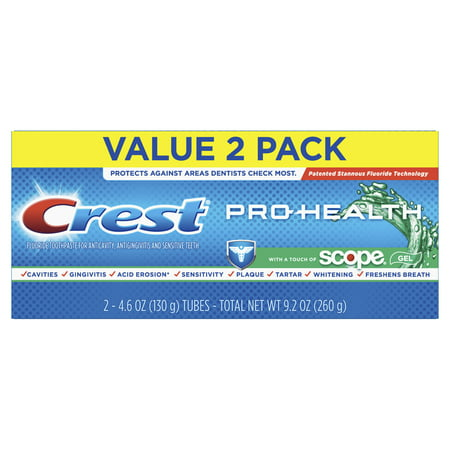 Crest Pro-Health with a Touch of Scope Whitening Toothpaste, 4.6 oz, Pack of 2