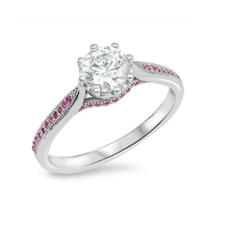 Tiffany Style Solitaire (Solitaire Style Simulated Ruby Cubic Zirconia Ring Sterling Silver 925 )
