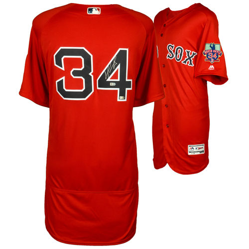 David Ortiz Boston Red Sox Autographed Majestic Red Authentic Retirement Logo Jersey