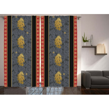 Asian Style Decor Oriental Chinese Dragon Print Decorations Curtain 2 Panel - Asian Decorations