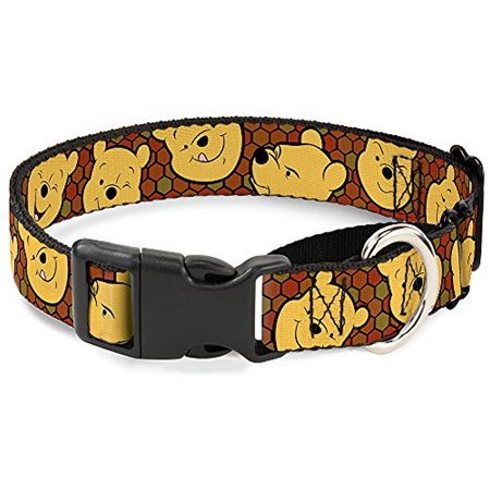 Wide Martingale Collar - Buckle-Down Winnie The Pooh Expressions Honeycomb Black Browns Disney Martingale Plastic Clip Collar