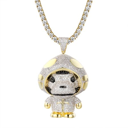 Ape With Hoodie Pendant 14k Gold Finish Simulated Diamond Full Iced Out Necklace