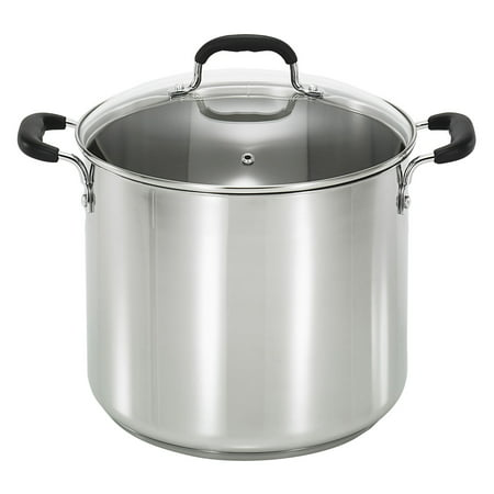 T-Fal Specialty Stainless Steel 12-Quart Stock Pot with Glass Lid, Silver Burnt Stainless Steel Pot