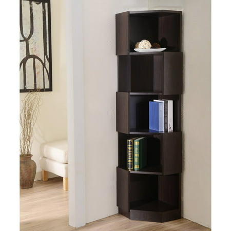 Furniture Of America Laina Geometric Espresso 5 Shelf Corner Bookshelf