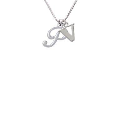 Silvertone Small Gelato Script Initial   P   Capital Initial V Necklace