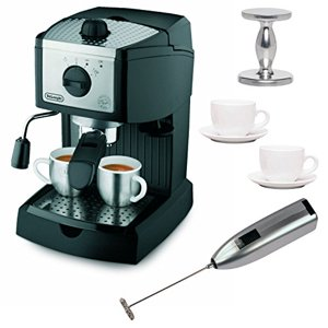 DeLonghi EC155 15 BAR Pump Espresso and Cappuccino Maker with Espresso Tamper, Two 3 oz Ceramic Tiara Espresso Cups and Saucers, and Knox Handheld Milk Frother