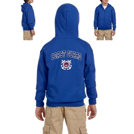 US Coast Guard Patriotic American Coast Style w Hats Flags Birthday Christmas Gift Youth Hoodies Zip Up Sweater