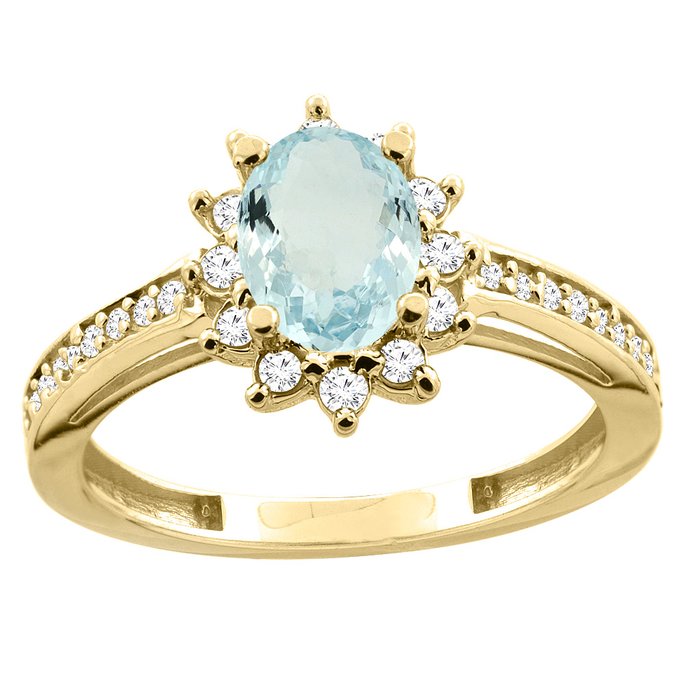 14K White Yellow Gold Natural Aquamarine Floral Halo Ring Oval 7x5mm Diamond Accent, sizes 5 10 by WorldJewels