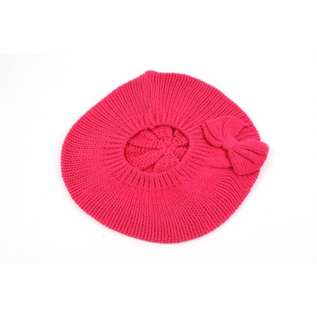 Beret Knit Pattern (Women's Fashion Knitted Beret Gill Pattern with Bow 162HB )