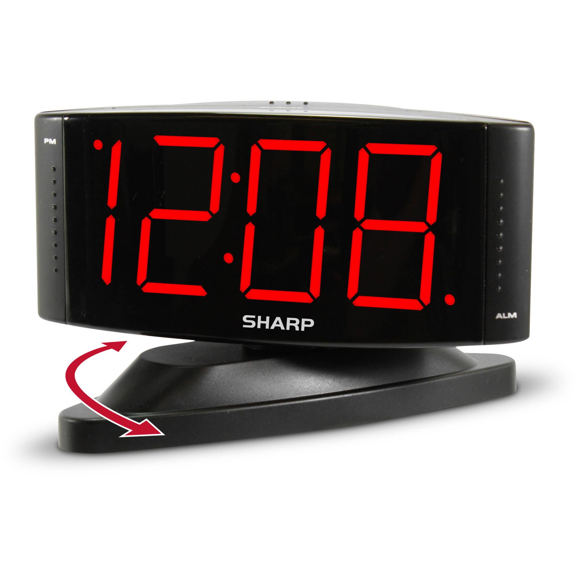 """Sharp 1.8"""" Red LED Dimmer Alarm Clock"""