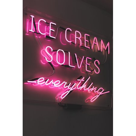 Laminated Poster Pink Ice Cream Led Sign Poster Print 24 x 36
