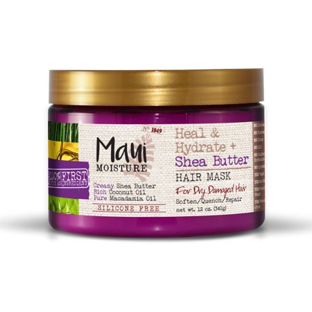 Maui Moisture Heal & Hydrate + Shea Butter Hair Mask, 12 FL (Best At Home Hair Mask For Dry Damaged Hair)