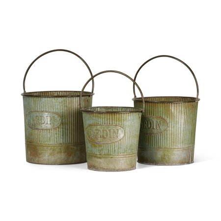 Rust Bucket - Imax Set Of 3 Camilla Galvanized Buckets With Rusted Finish Z27820-3