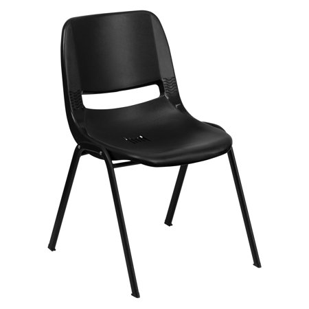 Flash Furniture HERCULES Series 440 lb. Capacity Ergonomic Shell Stack Chair with Black Frame and 14'' Seat Height, Multiple - Seat Ergonomic Chair