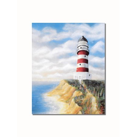 Red Lighthouse (Red & White Lighthouse #1 on Cliff over Ocean Wall Picture 8x10 Art)