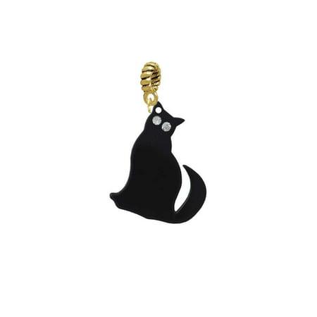 Acrylic Sitting Black Cat with Crystal Eyes - Goldtone Charm Bead