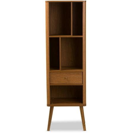 French Walnut Cabinet - Baxton Studio Ellingham Mid-Century Retro Modern 1-Drawer Sideboard Storage Cabinet Bookcase Organizer