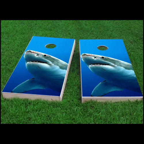 Custom Cornhole Boards Shark Cornhole Game (Set of 2) by Custom Cornhole Boards
