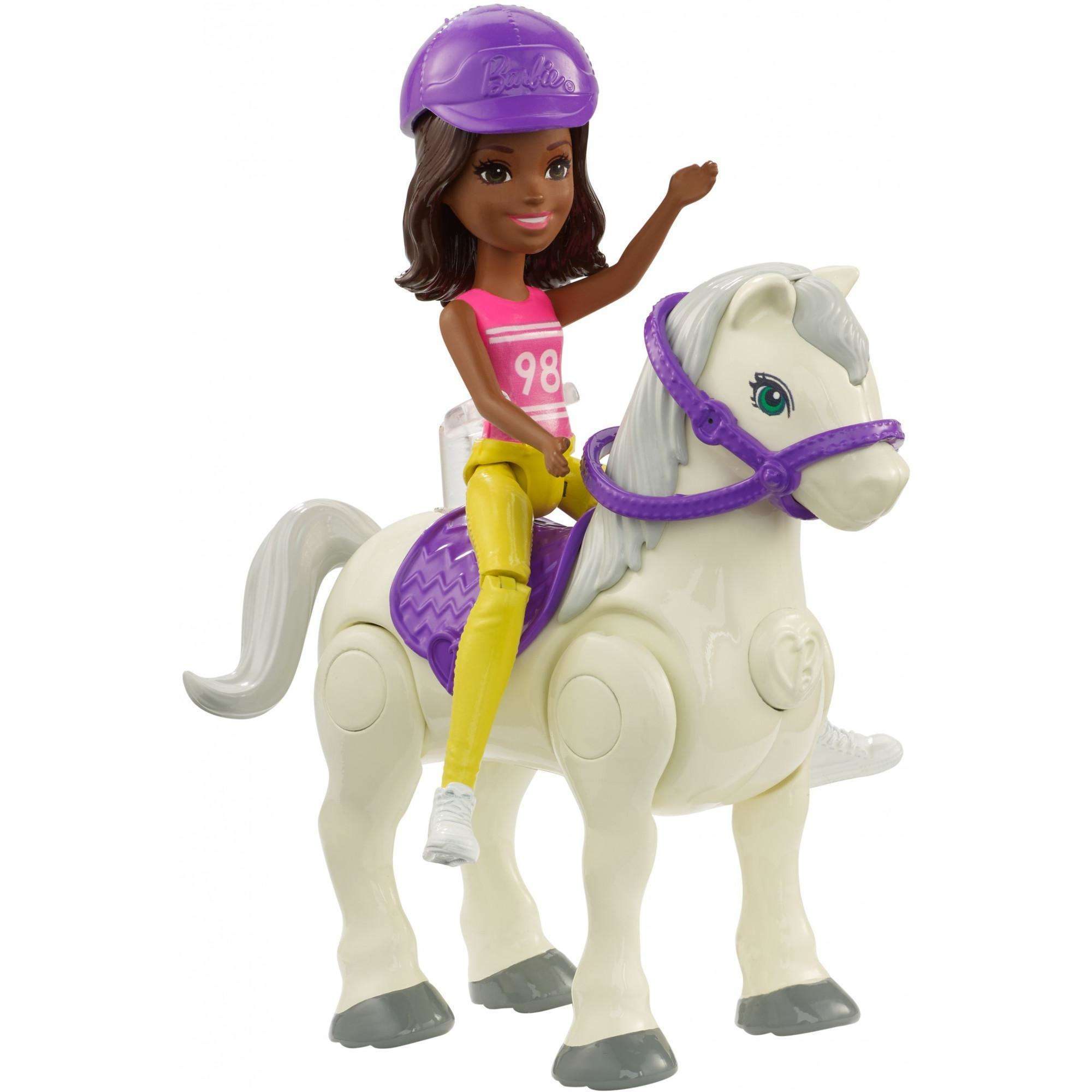Barbie On The Go White Pony and Purple Fashion Doll
